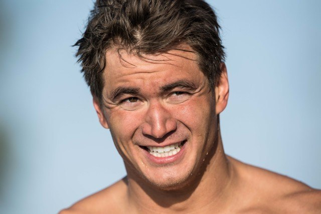 Nathan Adrian following the win in the 50 free at the 2016 Arena Pro Swim Series Mesa, Arizona (photo: Mike Lewis)