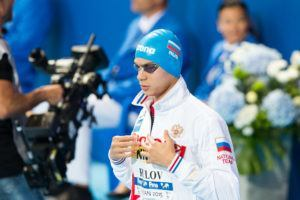 Russia's Evgeny Rylov at 2015 World Championships in Kazan, Russia. Photo: Tim Binning/TheSwimPictures.com