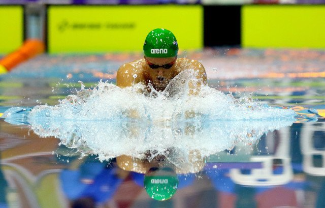 DURBAN, SOUTH AFRICA - APRIL 13: Cameron van den Burgh qualifies in the 200m breaststroke for men during the finals session on day 5 of the SA National Aquatic Championships and Olympic Trials on April 13 , 2016 at the Kings Park Aquatic Center pool in Durban, South Africa. Photo Credit / Anesh Debiky/Swim SA