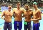DURBAN, SOUTH AFRICA - APRIL 15: Cameron van den Burgh , Calvyn Justus , Chad le Clos and Christopher Reid after swimming a qualifying time in the 4x100m medley time trial during the finals session on day 6 of the SA National Aquatic Championships and Olympic Trials  on April 15 , 2016  at the Kings Park Aquatic Center pool in Durban, South Africa. Photo Credit / Anesh Debiky/Swim SA
