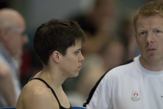 German swimmer Franziska Hentke with Coach Bernd Berkhahn at 2016 German National Championships, by Mirko Seifert