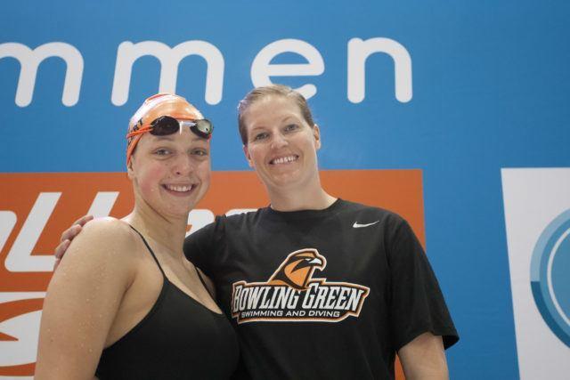 Franziska Wohler, US Coach Jaqueline Rosen at 2016 German National Championships, photo by Mirko Seifert