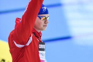 Adam Peaty walks out for the 100 breaststroke final in London.