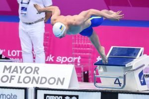Andriy Govorov taking off on his way to the 50 fly title at the European Championships.