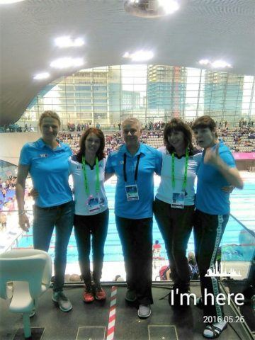European Masters Championships 2016, Berliner TSC, Gemany: Andrea Kutz, Anke Mus, Coach Olaf Mucha, Manuela Schinn, Ina Ziegler, photo: Silvia Leutloff