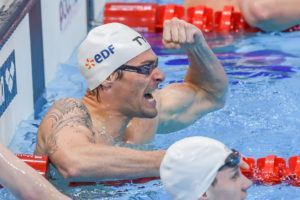 Camille Lacourt shows some emotion after winning the 100 back in London.