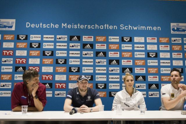 Press conference with Harald Gehring, DSV media, Marco Koch, Leonie Antonia Beck, German Head Coach Henning Lambertz