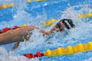 Gregorio Paltrinieri swimming the 1500 free in London.