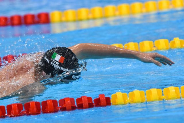 Paltrinieri swam the entire race on his own on his way to a new European record.