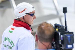 Katinka Hosszu preparing for the 200 back final at the European Championships.
