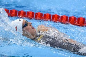 Katinka Hosszu competes in the 200 back final.