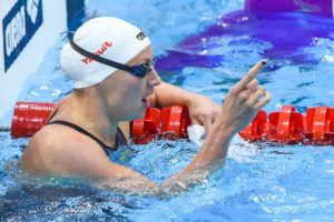 Katinka Hosszu celebrates her 200 back victory in London.