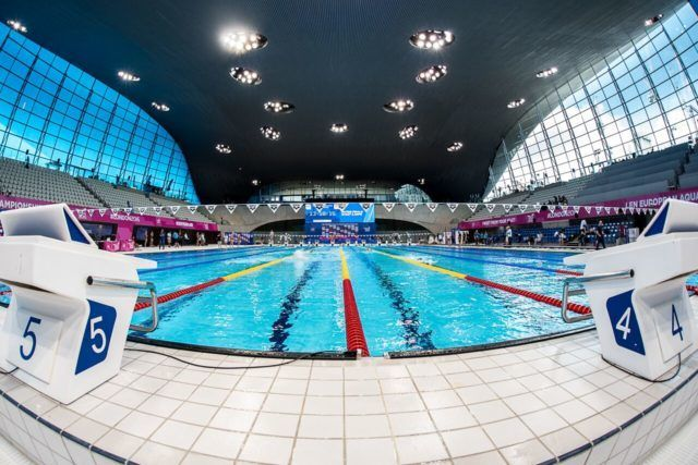 2016 European Championships, inside the London Aquatic Centre, photo by Peter Sukenik