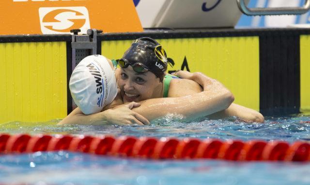 Johanna Roas, Nadine Laemmler at 2016 German National Championships, Final 50 m backstroke, photo by Mirko Seifert