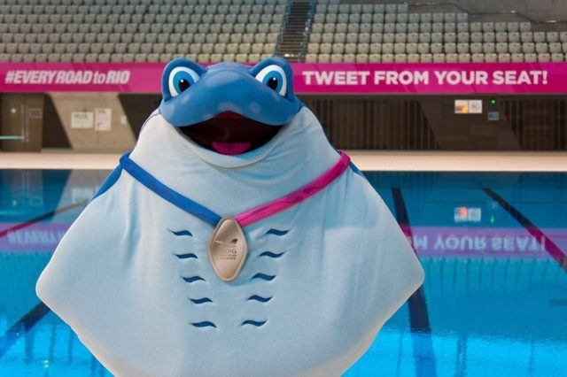 Ray the Ray standing poolside at the London Aquatics Center. Photo courtesy of European Swimming Federation (LEN) Facebook page.