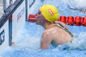 Sarah Sjostrom touches the wall in the women's 50 fly final.