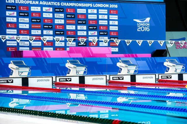 Inside the London Aquatic Center, European Championships 2016, photo by Peter Sukenik