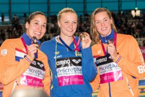 The women's 100 free podium featuring gold medallist Sarah Sjostrom.