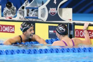 Maya DiRado and Melanie Margalis. Photo credit Tim Binning, theswimpictures.com