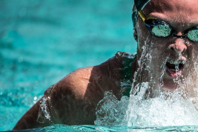 Keryn McMaster in the prelims of the 400IM at the Arena Pro Swim in Santa Clara (photo: Mike Lewis)