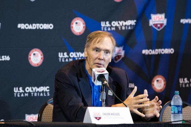 Chuck Wielgus, USA Swimming Executive Director - 2016 US Olympic Trials venue, courtesy of Tim Binning, theswimpictures.com