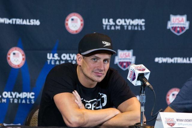 Ryan Lochte - 2016 US Olympic Trials venue,  courtesy of Tim Binning, theswimpictures.com