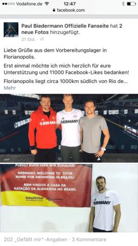 Paul Biedermann, Christoph Fildebrandt, Florian Vogel, Germany, at training camp in Brasil, photo: facebook Paull Biedermann