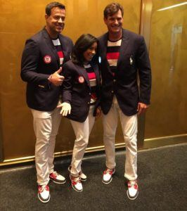 Members of the Today Show staff model Team USA's Opening Ceremony attire (courtesy of @TodayShow)