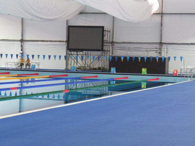 Rio 2016 Olympic warm up pool (with a television for athletes to watch the races) via D'artagnan Dias