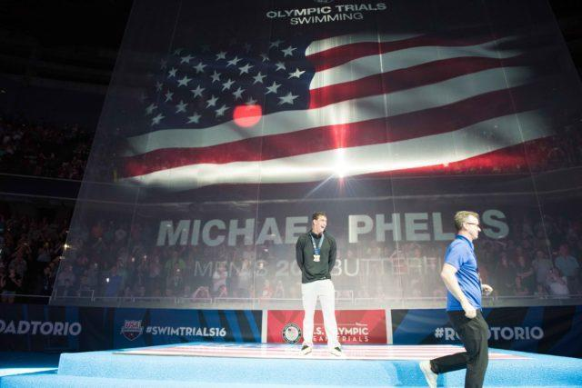Michael Phelps 2016 US Olympic Trials 200 butterfly awards ceremony (courtesy of Mike Lewis)