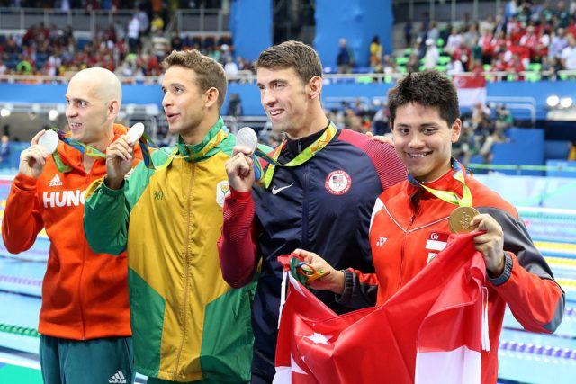 Schooling gold + Phelps, le Clos, Cseh - 100 butterfly - silver tie - 2016 Rio Olympics/photo credit Simone Castrovillari