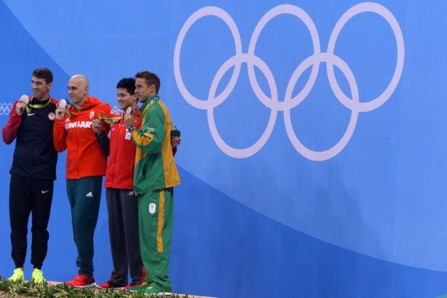 100 butterfly men's podium - Phelps, le Clos, Cseh, Schooling 2016 Rio Olympics/photo credit Simone Castrovillari