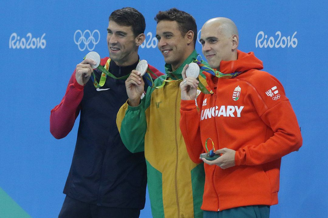 Phelps, Le Clos & Cseh Win Silver In First Ever Olympic 3-Way Tie