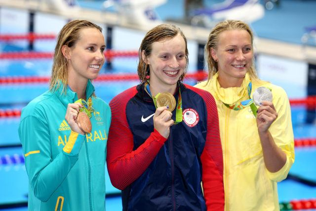Olympic Podium, 200 free: Emma McKeon, Katie Ledecky, Sarah Sjostrom - 2016 Rio Olympics/photo credit Simone Castrovillari
