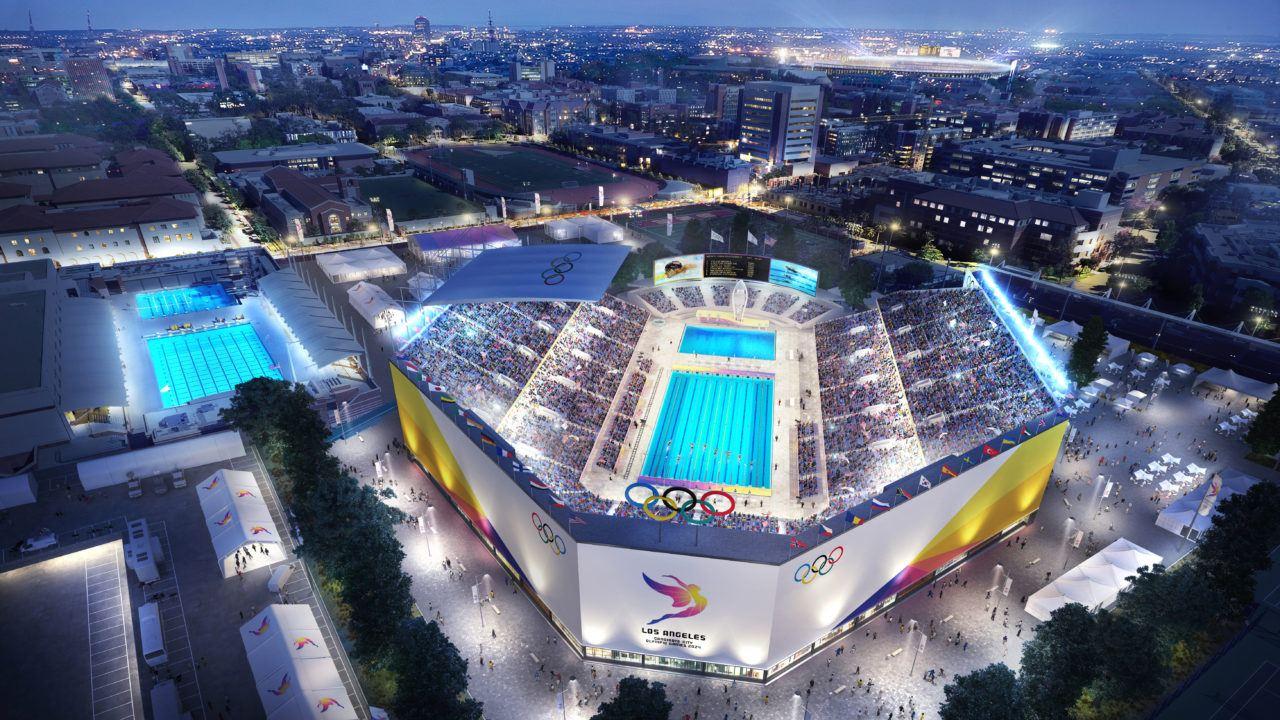 LA 2024 Releases Renderings of Aquatic Center, Coliseum