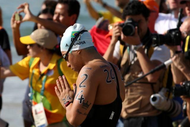 Ana Marcela durante a prova de 10Km da maratona aquatica realizada na praia de Copabana. Jogos Olimpicos Rio 2016. 15 de Agosto de 2016, Rio de Janeiro, RJ, Brasil. Foto: Satiro Sodré/SSPress