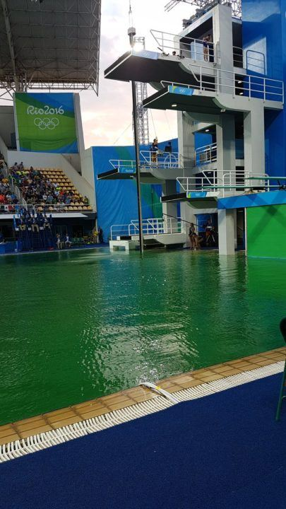 Diving Pool At Maria Lenk Turns Green, Competition Continues