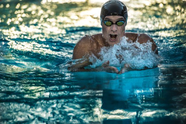 Olympian David Sims in the 200 IM at the 2016 US Masters Swimming National Championship (Photo: Mike Lewis - Courtesy of U.S. Masters Swimming)