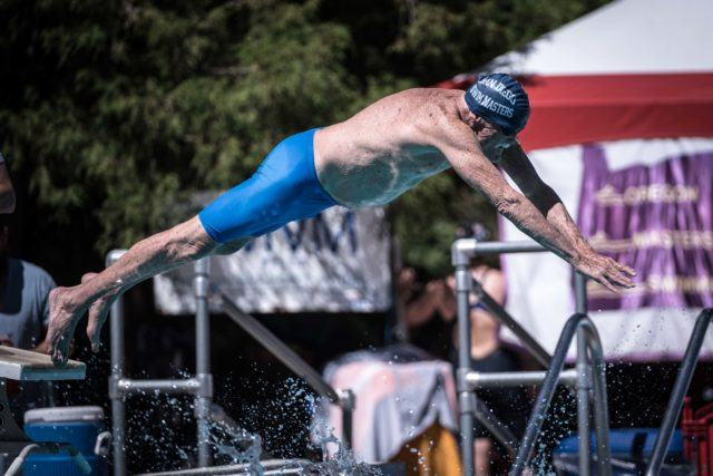 Don Hubbard (89) off in the 200 free at the 2016 US Masters Swimming Summer National Championhips (Photo: Mike Lewis - Courtesy of U.S. Masters Swimming)