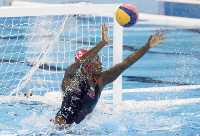 Ashleigh Johnson - USA Water Polo - Women - USA vs Brazil - 2016 Olympic Games in Rio. Photo courtesy of Jeff Cable/USAWP