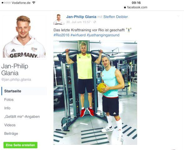 Germany's Jan-Philip Glania and Steffen Deibler at German National Team training camp in Brasil, 2016, facebook Jan-Philip Glania