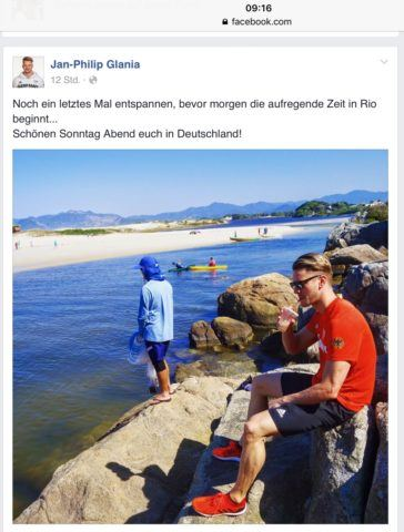 Germany's top backstroke swimmer Jan-Philip-Glania at German training camp in Brasil, facebook Jan-Philip Glania