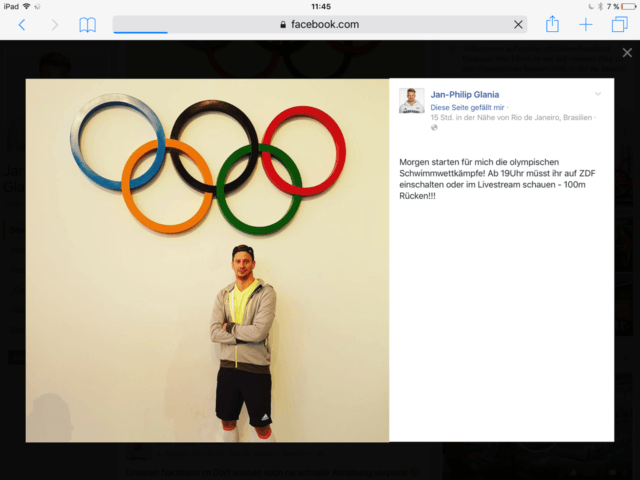 German swimmer Jan-Philip Glania on facebook