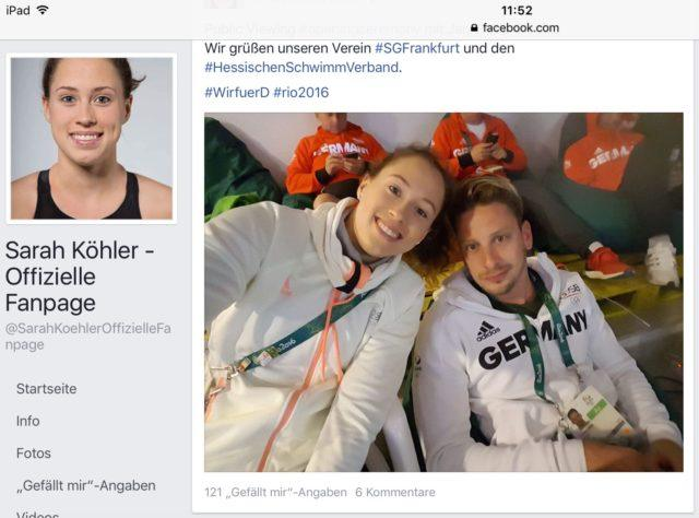 German swimmers Sarah Köhler and Jan-Philip Glania, Facebook Sarah Köhler