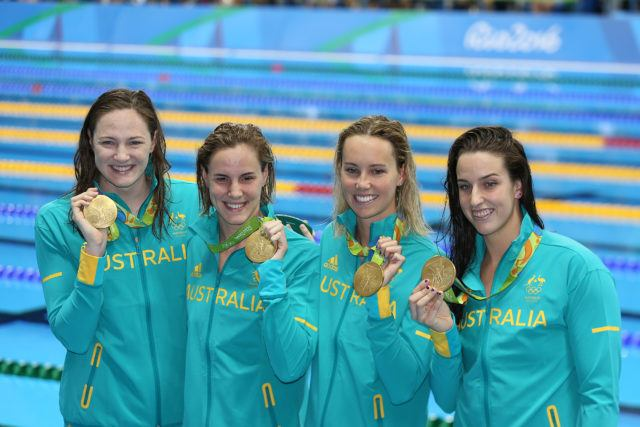 Cate Campbell, Bronte Campbell, Emma McKeon, Brittany Elsmlie - 2016 Olympic Games in Rio -courtesy of simone castrovillari