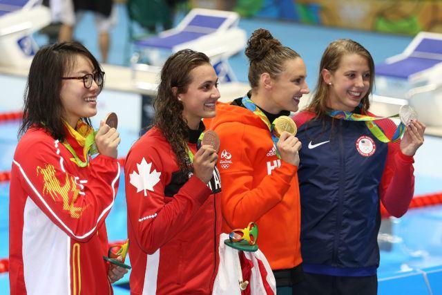 Fu Yuanhui, Kylie Masse, Katinka Hosszu, Kathleen Baker - 2016 Olympic Games in Rio -courtesy of Simone Castrovillari