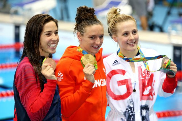 200 IM Medal Podium: Maya Dirado, Katinka Hosszu, Siobhan-Marie O'Connor - 2016 Rio Olympics/photo credit Simone Castrovillari