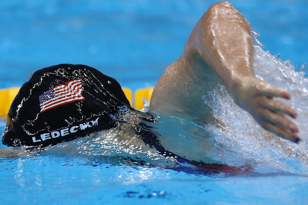 Watch Katie Ledecky Win Her First Collegiate Event
