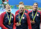 Michael Phelps, Ryan Lochte, Townley Haas, Conor Dwyer, 4x200 Free relay gold - 2016 Rio Olympics/photo credit Simone Castrovillari
