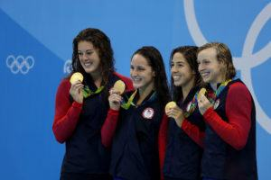 Allison Schmitt, Maya Dirado, Leah Smith, Katie Ledecky 4x200 relay podium - 2016 Rio Olympics/photo credit Simone Castrovillari